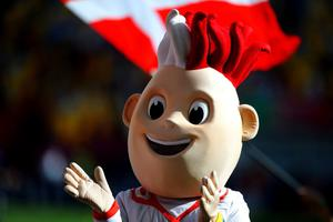 L'VIV, UKRAINE - JUNE 13:  Euro 2012 mascot during the UEFA EURO 2012 group B match between Denmark and Portugal at Arena Lviv on June 13, 2012 in L'viv, Ukraine.  (Photo by Laurence Griffiths/Getty Images)