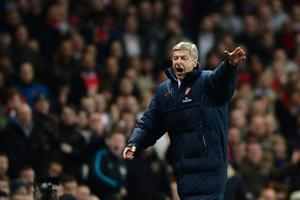 LONDON, ENGLAND - APRIL 16:  Manager Arsene Wenger of Arsenal reacts during the Barclays Premier League match between Arsenal and Wigan Athletic at Emirates Stadium on April 16, 2012 in London, England.  (Photo by Laurence Griffiths/Getty Images)