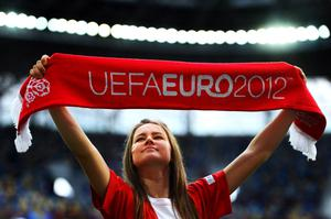 L'VIV, UKRAINE - JUNE 13:  A Danish fan enjoys the pre-match atmopshere during the UEFA EURO 2012 group B match between Denmark and Portugal at Arena Lviv on June 13, 2012 in L'viv, Ukraine.  (Photo by Laurence Griffiths/Getty Images)
