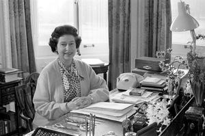 File photo dated 07/02/1982 of Queen Elizabeth II, at her desk in the study of Sandringham House, her Norfolk home, where she marked her 30th anniversary of her accession to the throne.  PRESS ASSOCIATION Photo.