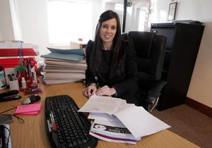 Apprentice Solicitor Stephanie Kydd pictured at her office in Peter Bowles and Co Solicitors on the Main Street in Bangor Co. Down.