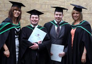29.06.11. PICTURE BY DAVID FITZGERALDUniversity of Ulster Graduations at the Waterfront Hall, Belfast yesterday. Louise McDermott, Richard Taylor, Andrew Robb and Alicia McGurk who studied Transportation