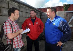 Junior Football - Steel & Sons Cup 2nd Round - Ads Rangers v Ards - 8th September 2012 The Park editor Martin Mawhinney talks to Ards Manager Niall Currie and Ards Rangers Manager Lee Forsythe after the game had to be abandoned due to referee Keith Kennedy being unable to continue following an ankle injury