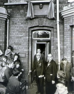 Mr Roddy Connolly of Bray, unveils a plaque at 420 Falls Road, Belfast, where his father, James Connolly, the 1916 leader, lived from 1907-10 while working in the north for the Irish Transport and General Workers Union. Connolly was born 100 years previous to the plague being unveiled (pictured here in 1968). The plaque was donated by  MP Mr Gerry Fitt (also pictured).