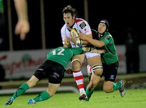 Magners League 25/9/2010Connacht vs UlsterUlster's Pedrie Wannenburg tackled by Keith Matthews and Ian Keatley of ConnachtMandatory Credit ©INPHO/Billy Stickland *** Local Caption ***