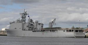 The US Navy Ship USS Fort McHenry in Dublin port