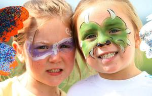nd May 2010.  Children's festival in the Waterworks in north Belfast.  Left to right.  Four-year-old twins Katie Bradley-Irvine and her brother Jason from east Belfast pictured after having their faces painted.