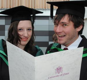 Laura Hamilton from Armagh and David Watson from Artigarvan who graduated with their BSc (Hons) Psychology from the University of Ulster at Coleraine. PIcture Martin McKeown. Inpresspics.com. 27.6.11