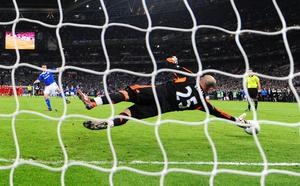 LONDON, ENGLAND - FEBRUARY 26:  Anthony Gerrard of Cardiff City misses the decisive penalty in the shoot out during the Carling Cup Final match between Liverpool and Cardiff City at Wembley Stadium on February 26, 2012 in London, England.  (Photo by Mike Hewitt/Getty Images)