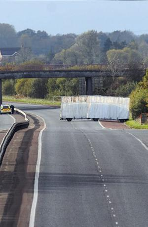 The scene of the murder of a prison officer  on the M1 in Northern Ireland