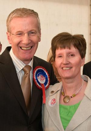Gregory Campbell celebrates with his wife Frances and party workers after he was reelected to the Northern Ireland Assembly