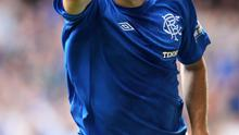 Rangers Andy Little celebrates his first goal during the Irn-Bru Scottish Third Division match at Ibrox, Glasgow.