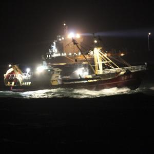 Ships taking part in a rescue operation for the sunken cargo ship Baltic Ace (AP/Royal Dutch Navy)