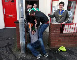 Flashback to 2009 - Scenes from Belfast's Holyland area on St. Patricks day.