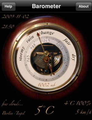 <b>7. Barometer Antique</b><br/>  £1.69, iPhone  This turns your sleek iPod into a kitsch 'antique barometer'. Its large pointing arrow on the opening page gives you the weather in refreshingly simple terms.