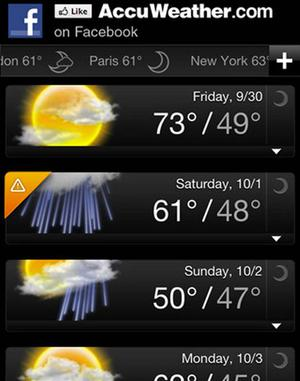 <b>9. AccuWeather</b><br/>  Free, Android and iPhone  Off to a music festival? Want to know whether you need to dig out the Docs or find last year's sandals? Just whip out your AccuWeather app.