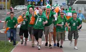 Republic of Ireland fans arrive for the UEFA Euro 2012, Group C match at the Municipal Stadium, Gdynia, Poland