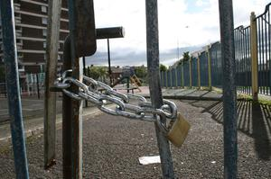 Breaking the chain: Carlisle Play Park will soon be back in operation                  Photo: Leo Morgan
