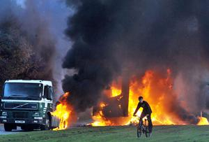 Forty foot lorry cab and trailer set on fire