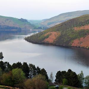 Clywedog reservoir where four people have died after the car they were travelling in plunged into the water