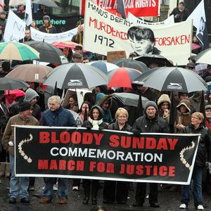 People have joined a parade in Londonderry to mark the 40th anniversary of Bloody Sunday