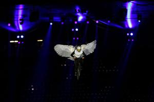 A performer dressed as a dove during the London Olympic Games 2012 Opening Ceremony at the Olympic Stadium, London. PRESS ASSOCIATION Photo. Picture date: Friday July 27, 2012. See PA story OLYMPICS Ceremony. Photo credit should read: Stephen Pond/PA Wire. EDITORIAL USE ONLY