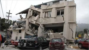 A damaged building is seen after an earthquake in Port-au-Prince, Haiti, Tuesday, Jan. 12, 2010