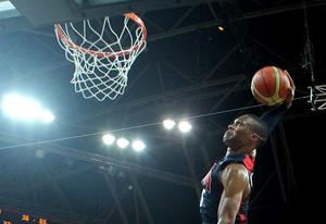 LONDON, ENGLAND - JULY 31:  Russell Westbrook #7 of United States dunks the ball against Tunisia during the Men's Basketball Preliminary Round match on Day 4 of the London 2012 Olympic Games at Basketball Arena on July 31, 2012 in London, England.  (Photo by Christian Petersen/Getty Images)