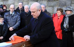 The funeral of Kieran Doherty, shot dead last week, in Derry, by the Real IRA takes place at St. Columba's Church, Longtower.