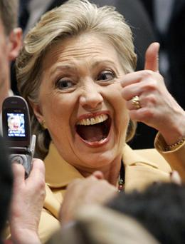 Democratic presidential hopeful, Sen. Hillary Rodham Clinton, D-N.Y., reacts as she greets supporters at her Super Tuesday primary night rally in New York, Tuesday, Feb. 5, 2008.