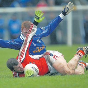 Armagh's Ronan Clarke and Paraic Reilly of Cavan get tangled up as Armagh staged a great second half recovery.