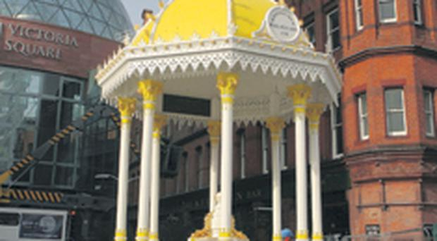 The Jaffe Fountain has returned to Victoria Square