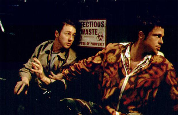 A scene from Fight Club with Ed Norton and Brad Pitt