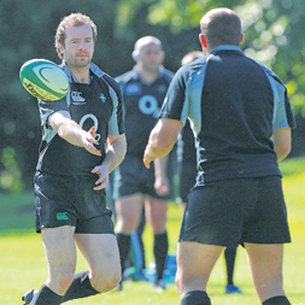 Ireland's Geordan Murphy in action at squad training yesterday at Campbell College