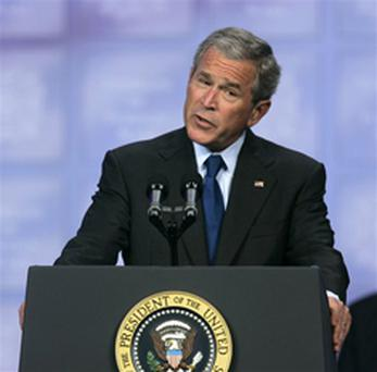 President Bush addresses the Veterans of Foreign Wars national convention Wednesday, Aug. 22, 2007 in Kansas City