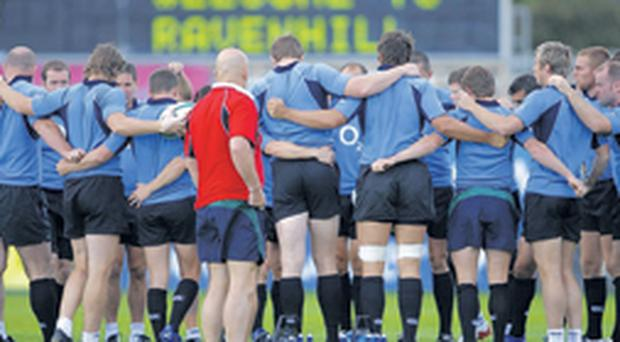 Ireland's players get in their huddle before training last night at Ravenhill