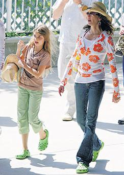 Crocs still rock - Teri Hatcher and daughter wearing pairs