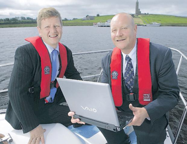 James Turnbull and Brian Cleland get waterborne on Lower Erne to celebrate a three-year infrastructure programme between Northgate Infrastructure Solutions and Waterways Ireland