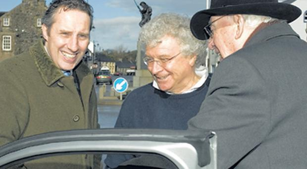 Ian Paisley, Jnr, Seymour Sweeney, of Seaport Ltd, Ian Paisley in Bushmills in February