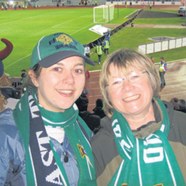 The Belfast Telegraph's Chrissie Russell with mum Hilary on their first Northern Ireland away trip.