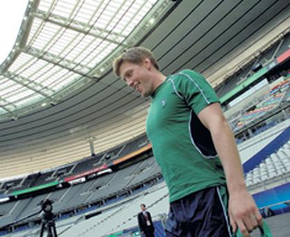 Ronan O'Gara takes to the Stade De France last night for some kicking practice