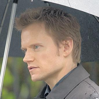 Actor Marc Warren on location in Belfast during filming yesterday for the new BBC series of Messiah