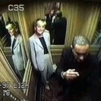 Diana, Princess of Wales with Dodi Fayed in the lift at the Ritz Hotel the afternoon before they both died