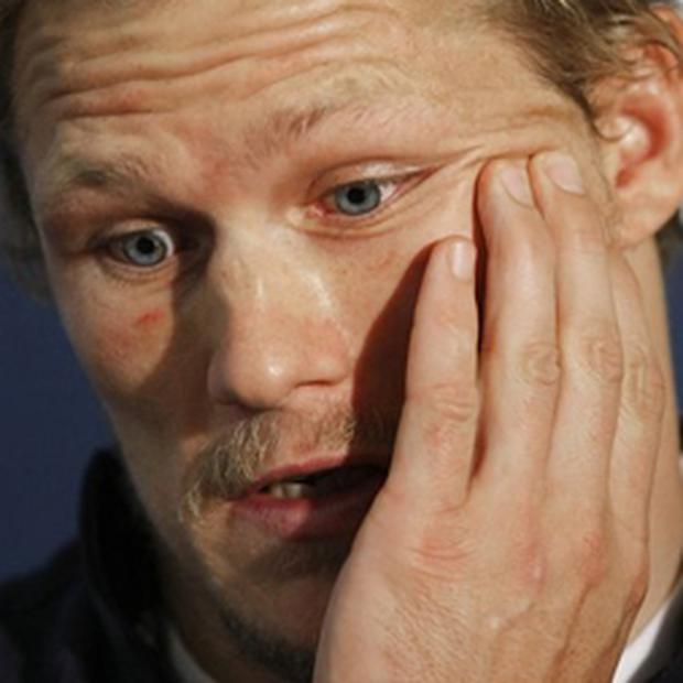 Josh Lewsey reveals that he will miss Saturday's World Cup final during a news conference in Paris yesterday