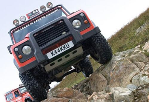Kankku driving school's 4x4 offroaders in action on the Lake District's rugged terrain