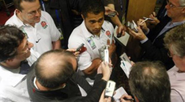 England's Jason Robinson, who plays his last game before retirement in tomorrow's World Cup final, talks to the media yesterday