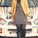 Reporter Lesley-Anne Henry with the Subaru driven by Emma McKinstry