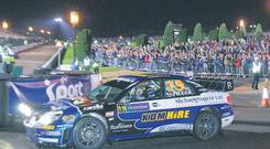 Home favourite Kris Meeke was first out to kick-off Rally Ireland at Stormont to the delight of the 8,000 strong crowd who turned out to cheer him and the rest of the drivers at Parliament buildings
