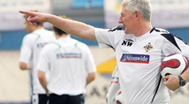 Northern Ireland manager Nigel Worthington barks out orders ahead of tonight's big game