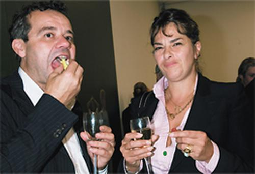 Your hosts with the most: Mark Hix and Tracey Emin tuck in